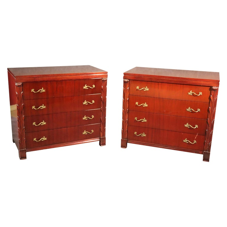 Pair of Matched John Stuart Hollywood Regency Dressers Chests, circa 1940 For Sale