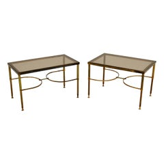 Pair of Matched Solid Brass Side Tables Vintage, 1960's