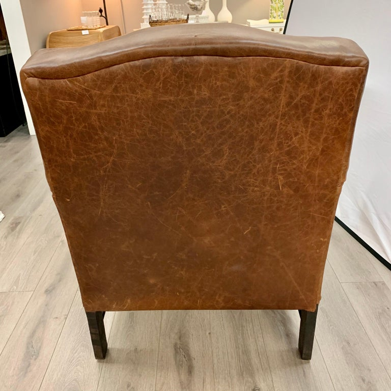 Pair of Matching Brown Leather Nailhead Club Chairs For Sale 5