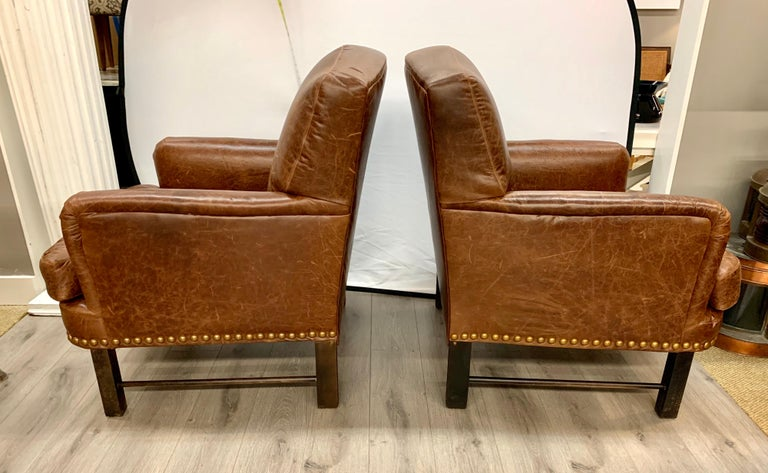 Pair of Matching Brown Leather Nailhead Club Chairs In Good Condition For Sale In West Hartford, CT