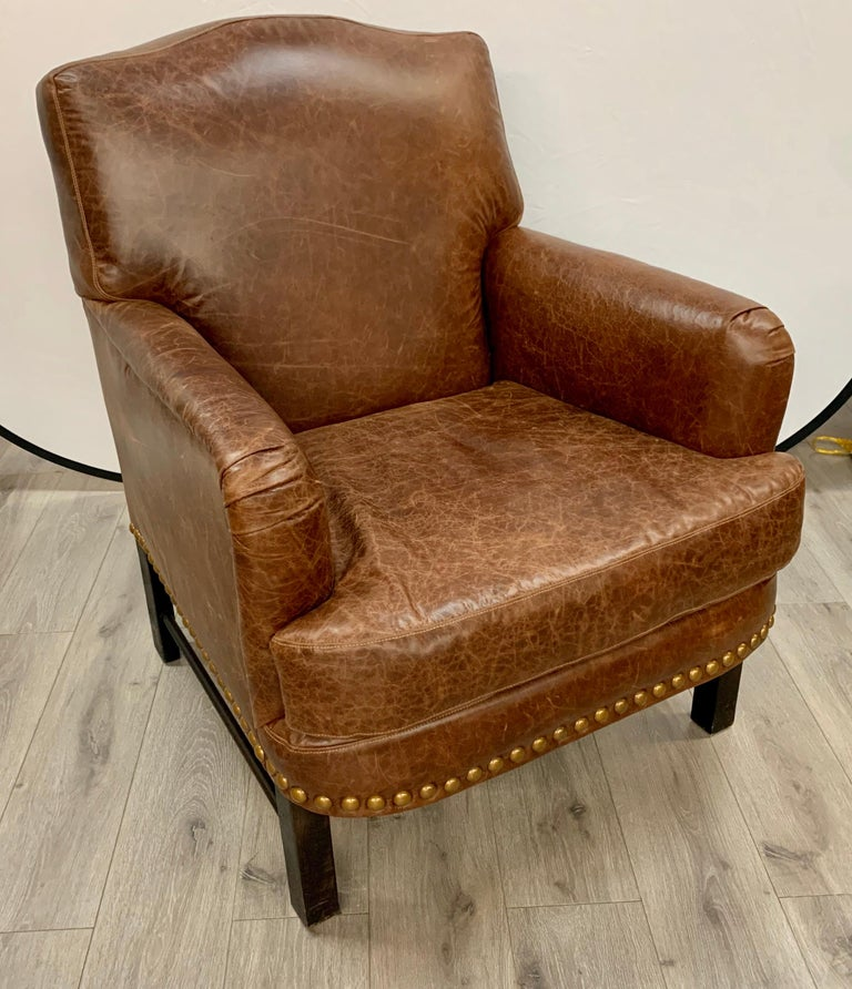 Metal Pair of Matching Brown Leather Nailhead Club Chairs For Sale
