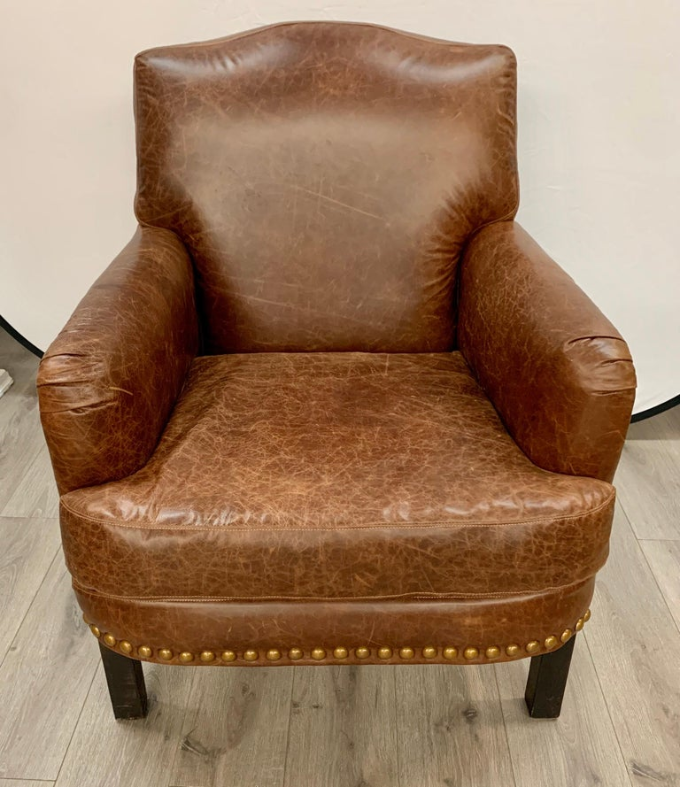 Pair of Matching Brown Leather Nailhead Club Chairs For Sale 1