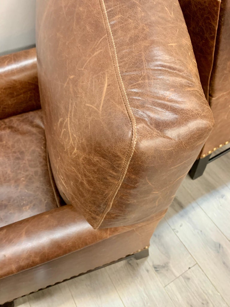Pair of Matching Brown Leather Nailhead Club Chairs For Sale 2