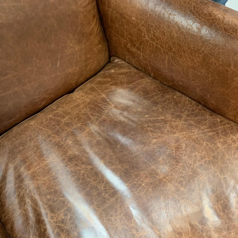 Pair of Matching Brown Leather Nailhead Club Chairs For Sale 3