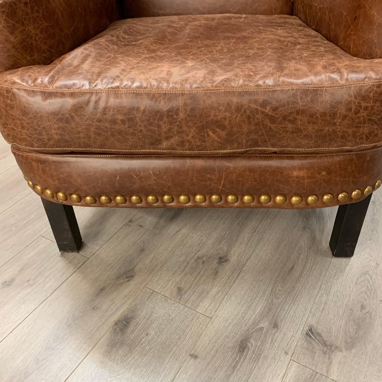 Pair of Matching Brown Leather Nailhead Club Chairs For Sale 4