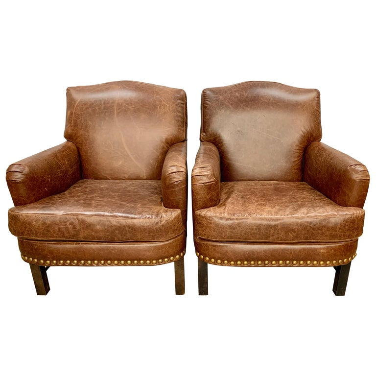 Pair of Matching Brown Leather Nailhead Club Chairs For Sale