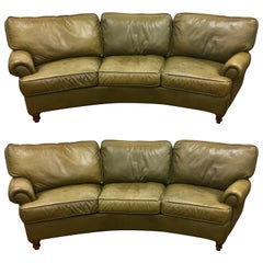 Pair of Matching Curved American Leather Furniture Company Sofas