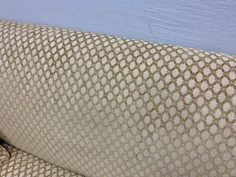 Pair of Matching Custom Loveseat Sofas with Raised Trellis Kravet Fabric For Sale 5