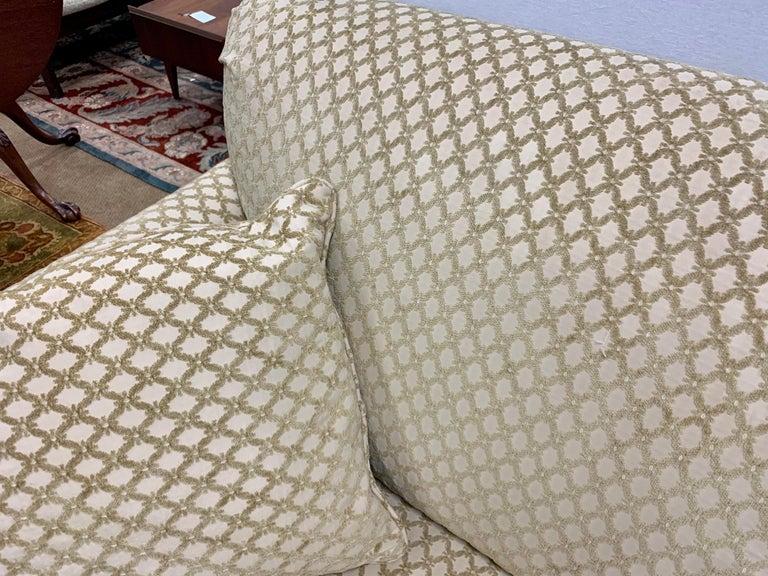 Pair of Matching Custom Loveseat Sofas with Raised Trellis Kravet Fabric For Sale 6