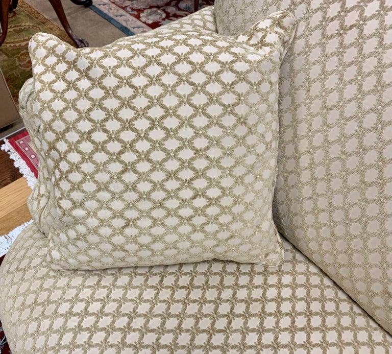 Pair of Matching Custom Loveseat Sofas with Raised Trellis Kravet Fabric For Sale 7