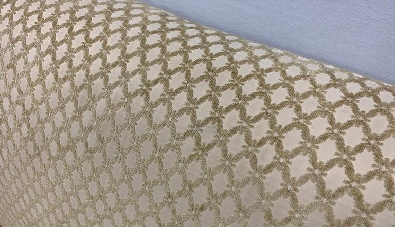 Pair of Matching Custom Loveseat Sofas with Raised Trellis Kravet Fabric For Sale 8