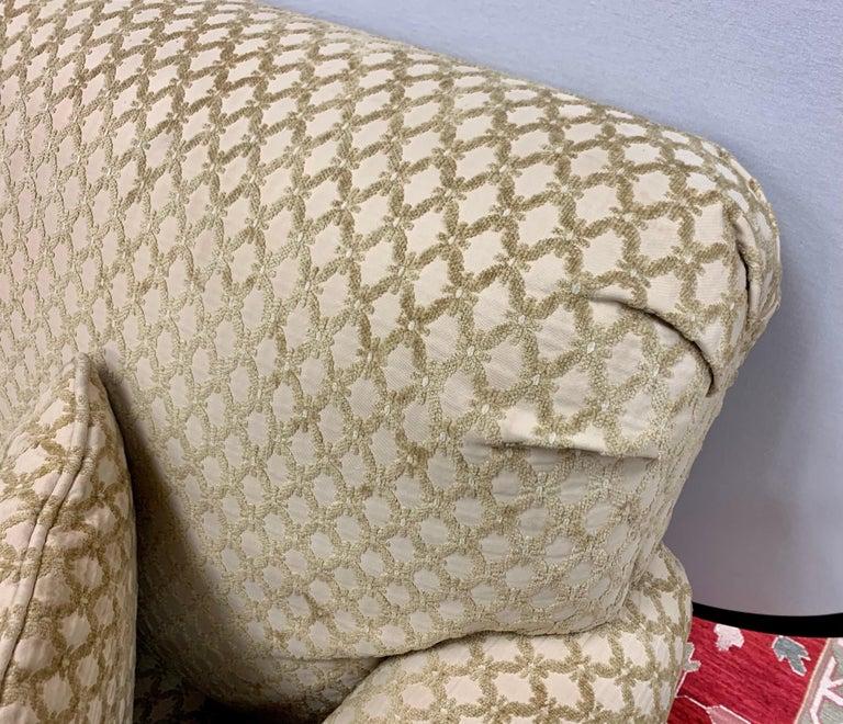Pair of Matching Custom Loveseat Sofas with Raised Trellis Kravet Fabric For Sale 9