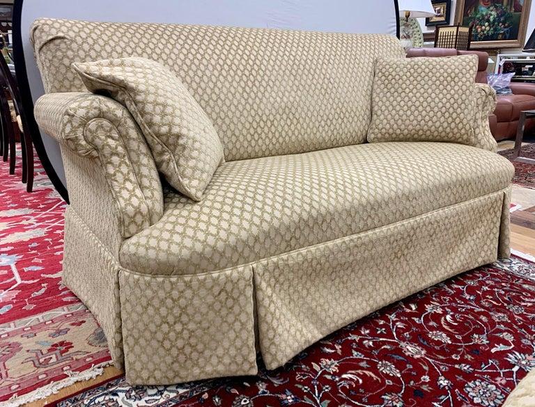Pair of Matching Custom Loveseat Sofas with Raised Trellis Kravet Fabric For Sale 10