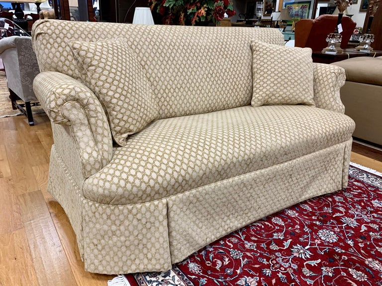 Stunning matching pair of custom loveseats that measure six feet wide and have luxurious Kravet fabric featuring a regal raised trellis pattern. All dimensions are below. Now, more than ever, home is where the heart is.
