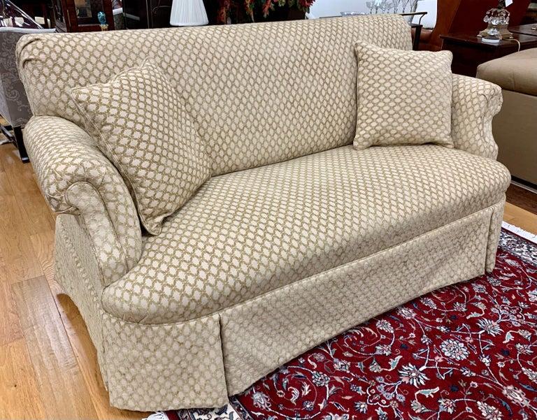 American Pair of Matching Custom Loveseat Sofas with Raised Trellis Kravet Fabric For Sale