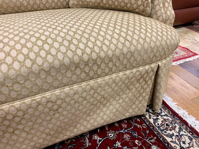 Pair of Matching Custom Loveseat Sofas with Raised Trellis Kravet Fabric In Good Condition For Sale In West Hartford, CT
