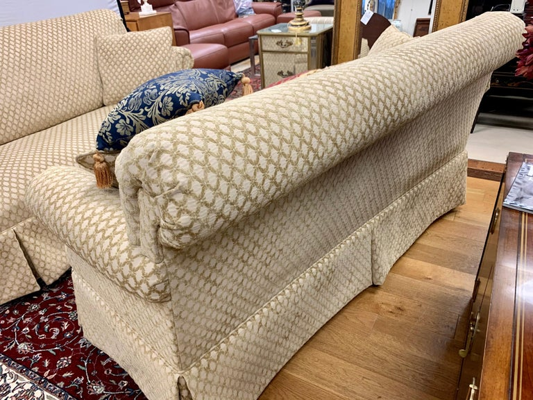 20th Century Pair of Matching Custom Loveseat Sofas with Raised Trellis Kravet Fabric For Sale
