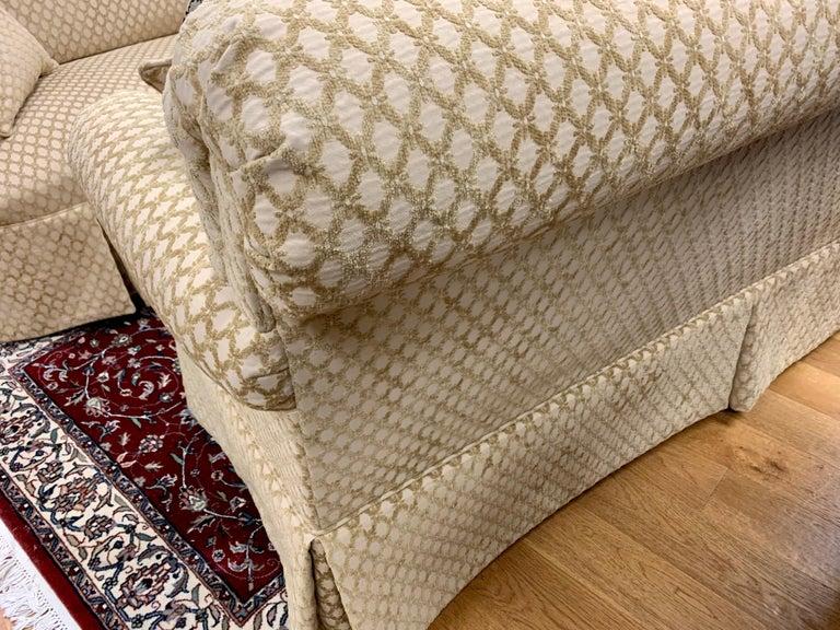 Pair of Matching Custom Loveseat Sofas with Raised Trellis Kravet Fabric For Sale 1