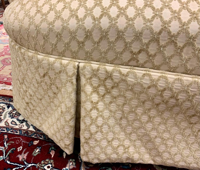 Pair of Matching Custom Loveseat Sofas with Raised Trellis Kravet Fabric For Sale 3