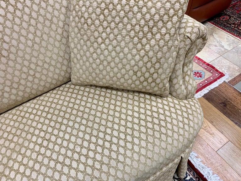 Pair of Matching Custom Loveseat Sofas with Raised Trellis Kravet Fabric For Sale 4