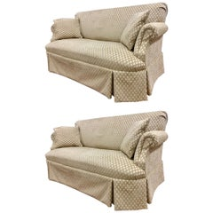 Pair of Matching Custom Loveseat Sofas with Raised Trellis Kravet Fabric