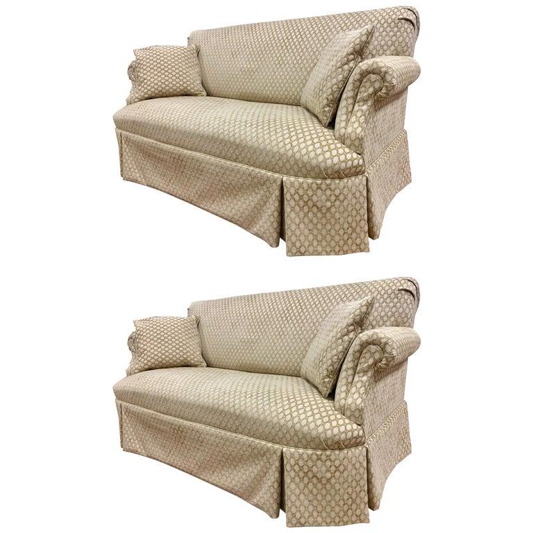 Pair of Matching Custom Loveseat Sofas with Raised Trellis Kravet Fabric For Sale