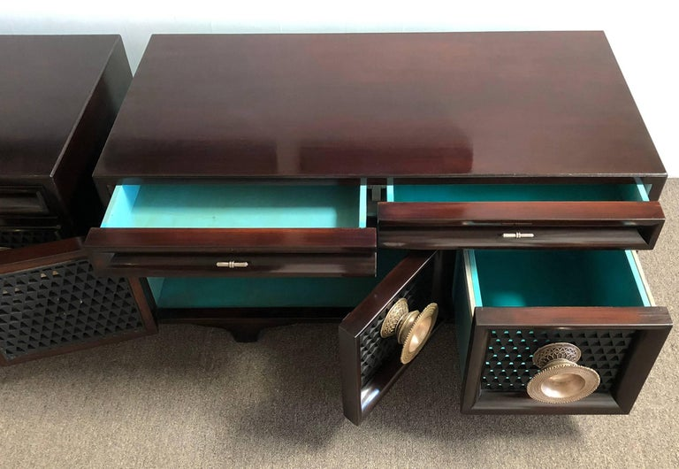 Lacquered Pair of Matching Custom Cabinets, Nightstands or End Tables For Sale