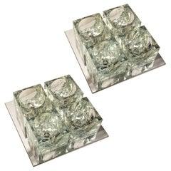Pair of Matching Gaetano Sciolari Glass and Metal Ceiling Lights