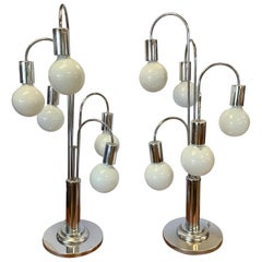 Pair of Matching Laurel Lighting Midcentury Chrome Large Waterfall Lamps