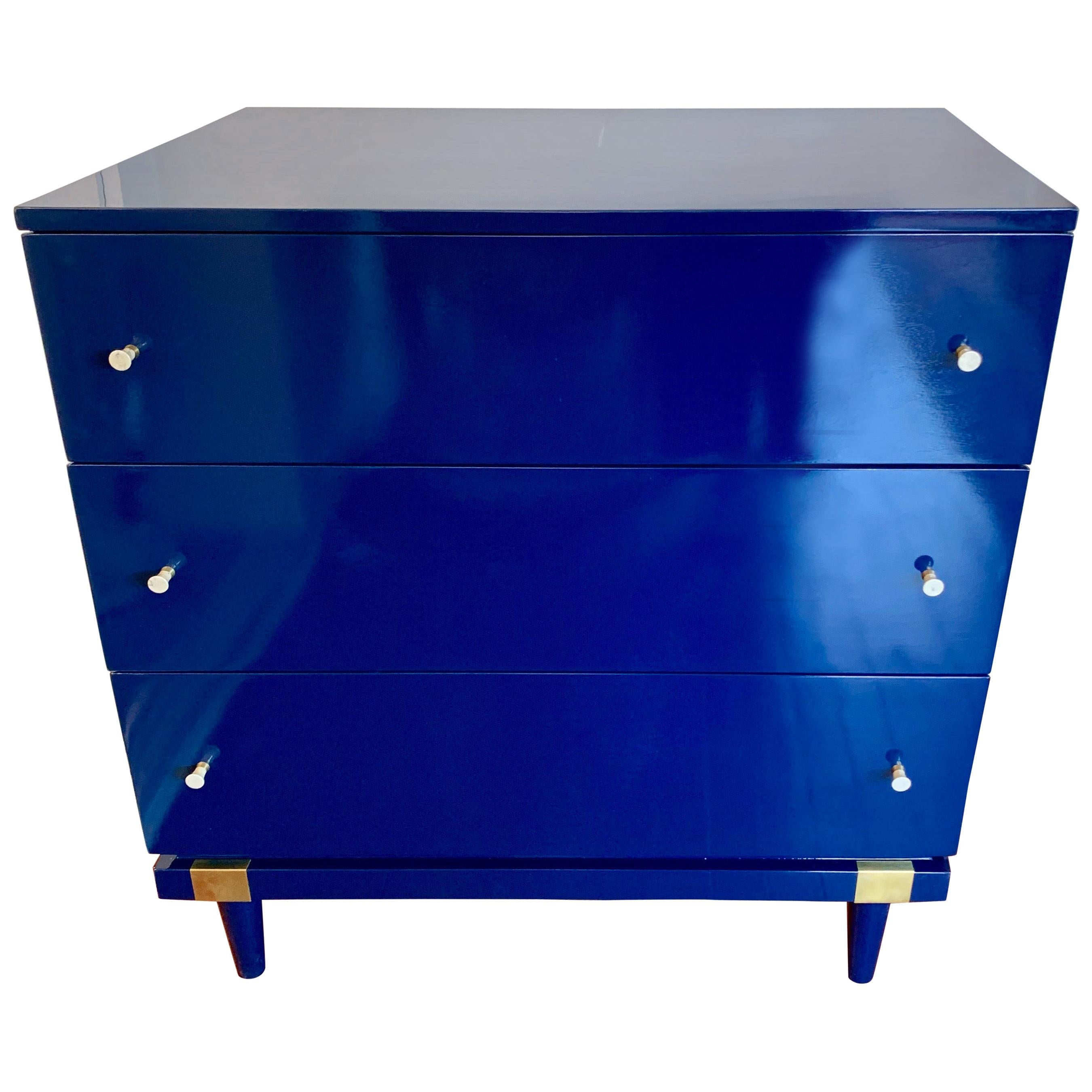 Pair of Matching Mengel Blue Lacquered Raymond Loewy Chest of Drawers Dressers