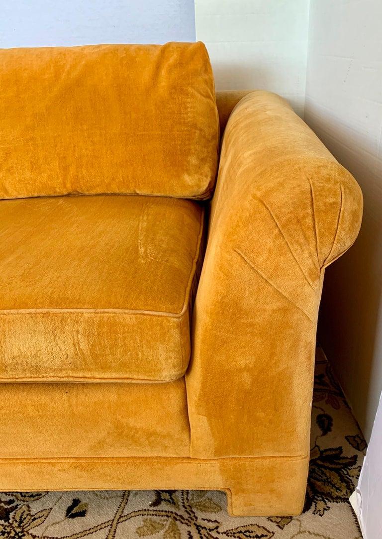 Pair of Matching Mid-Century Modern Century Furniture Hermes Orange Velvet Sofas For Sale 5