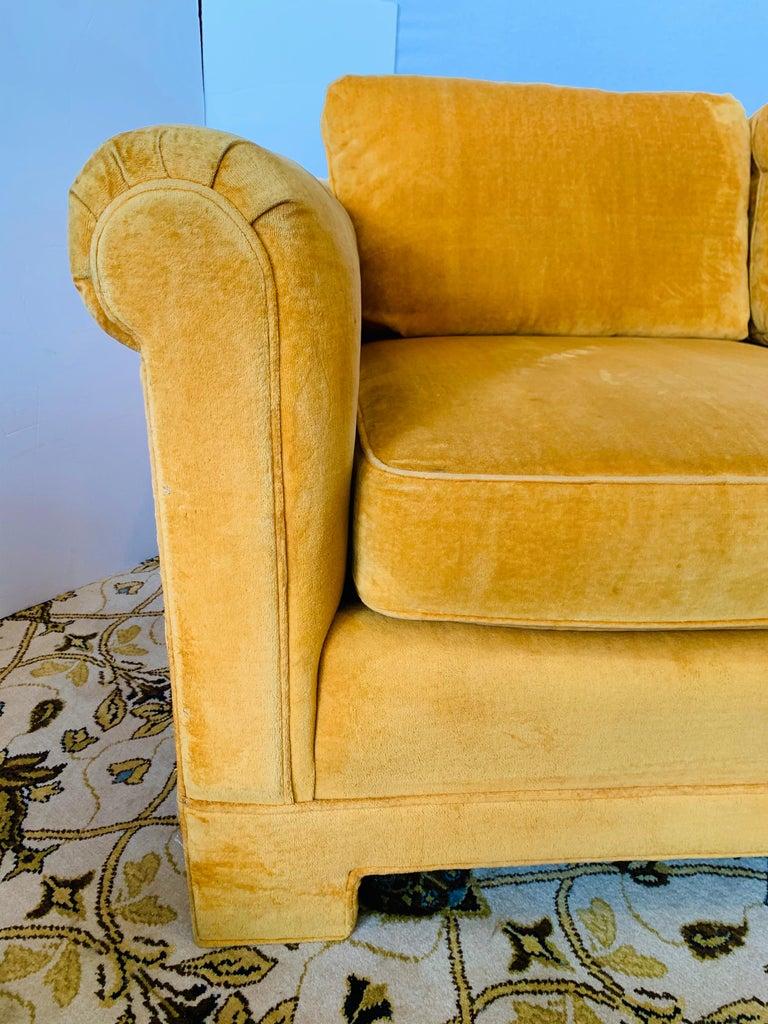 Pair of Matching Mid-Century Modern Century Furniture Hermes Orange Velvet Sofas For Sale 6