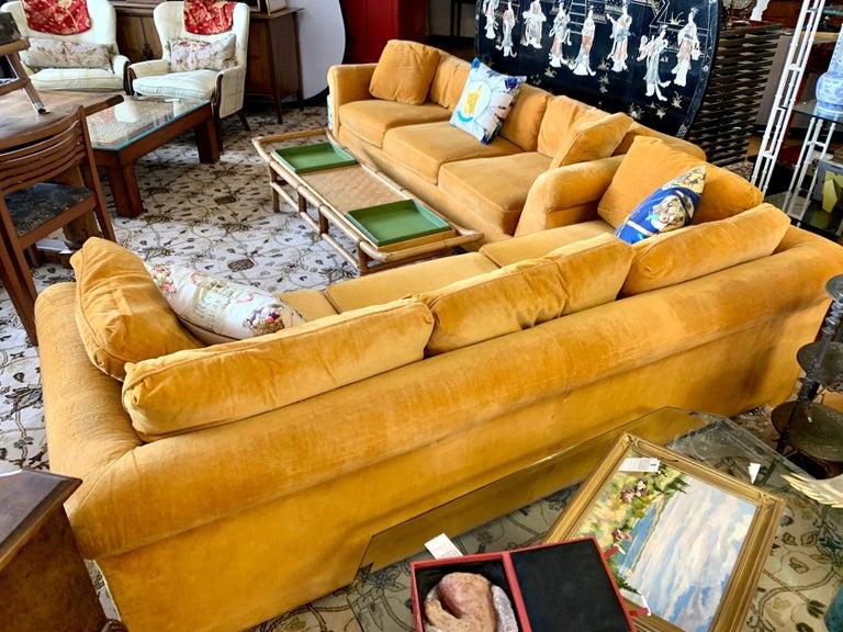 Pair of Matching Mid-Century Modern Century Furniture Hermes Orange Velvet Sofas For Sale 7