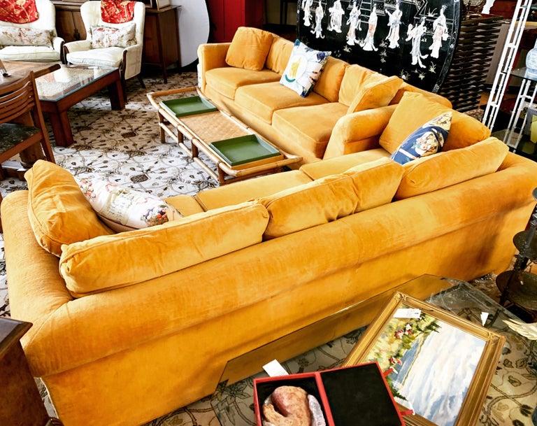 Pair of Matching Mid-Century Modern Century Furniture Hermes Orange Velvet Sofas For Sale 8