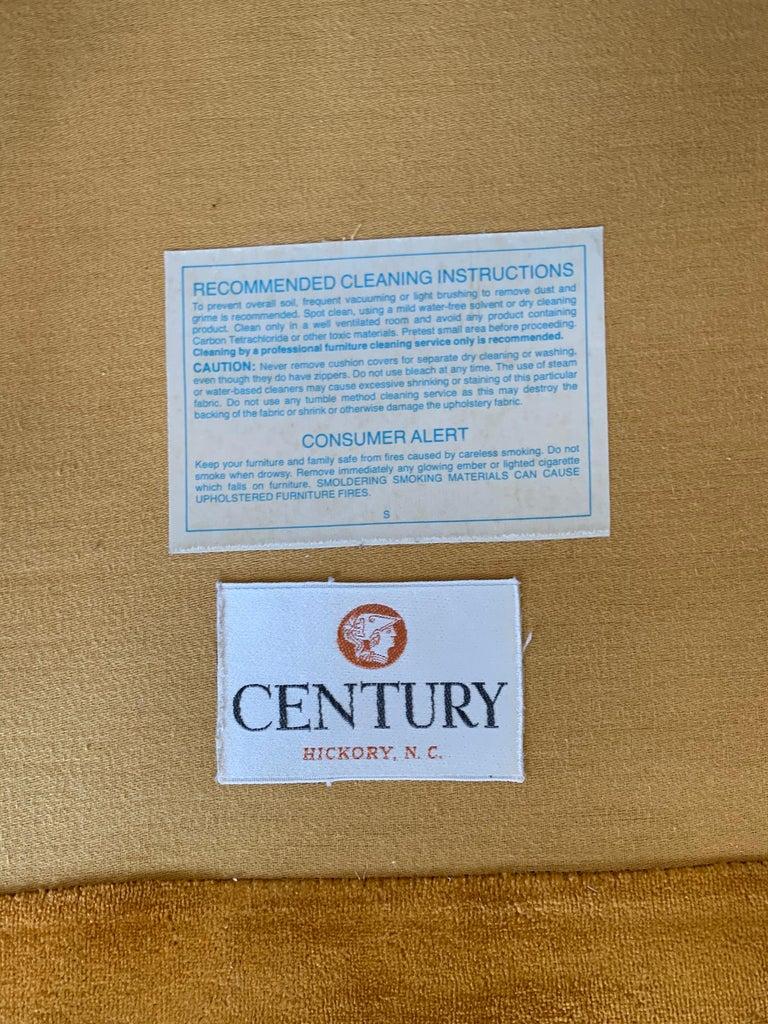 American Pair of Matching Mid-Century Modern Century Furniture Hermes Orange Velvet Sofas For Sale