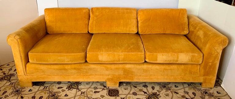 Late 20th Century Pair of Matching Mid-Century Modern Century Furniture Hermes Orange Velvet Sofas For Sale