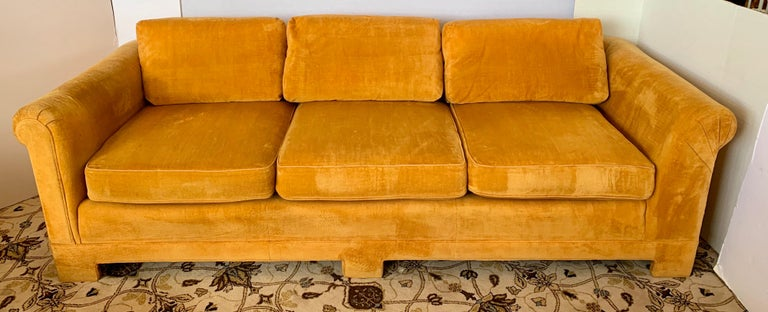 Pair of Matching Mid-Century Modern Century Furniture Hermes Orange Velvet Sofas For Sale 1