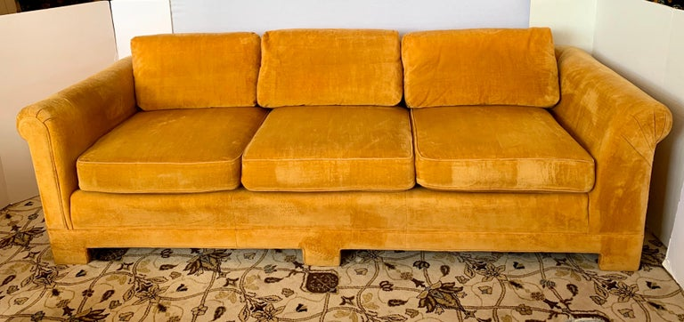 Pair of Matching Mid-Century Modern Century Furniture Hermes Orange Velvet Sofas For Sale 2