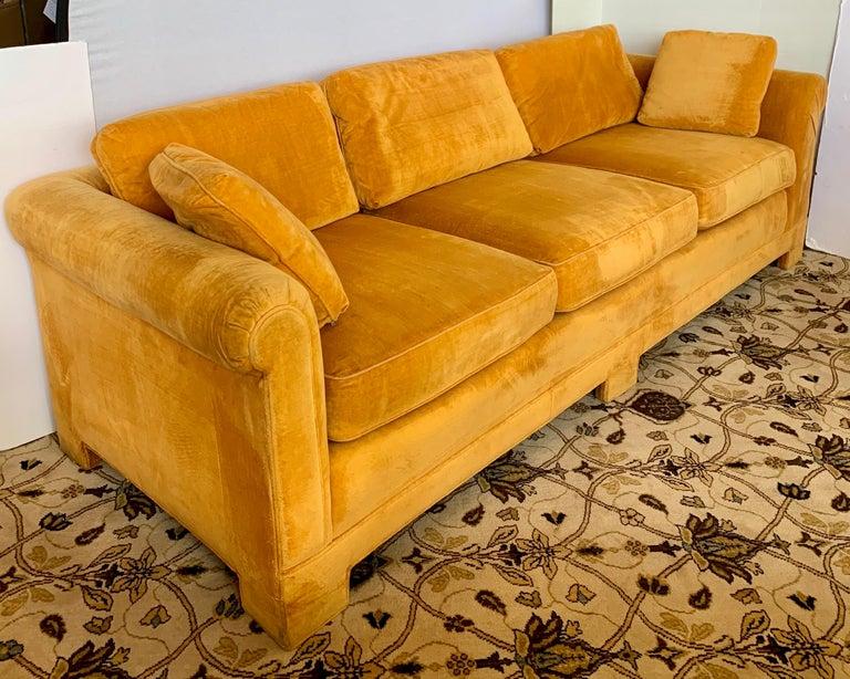 Pair of Matching Mid-Century Modern Century Furniture Hermes Orange Velvet Sofas For Sale 3