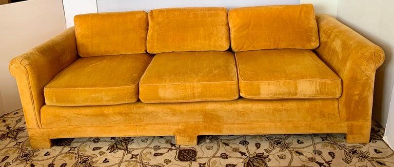 Pair of Matching Mid-Century Modern Century Furniture Hermes Orange Velvet Sofas For Sale 4