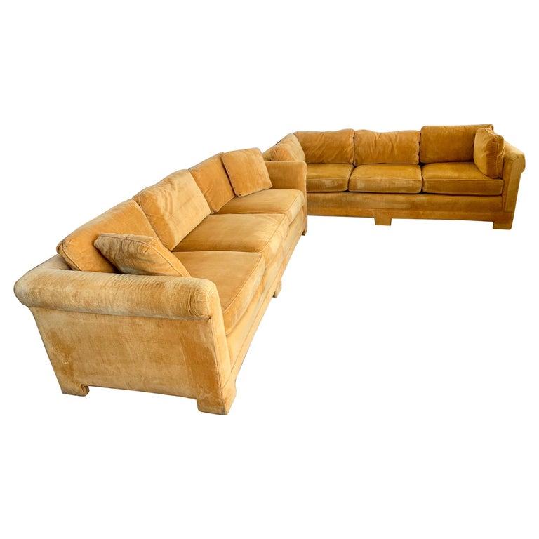 Pair of Matching Mid-Century Modern Century Furniture Hermes Orange Velvet Sofas For Sale