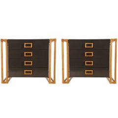 Pair of Matching Mid-Century Modern Rattan and Laminate Chests or Nightstands