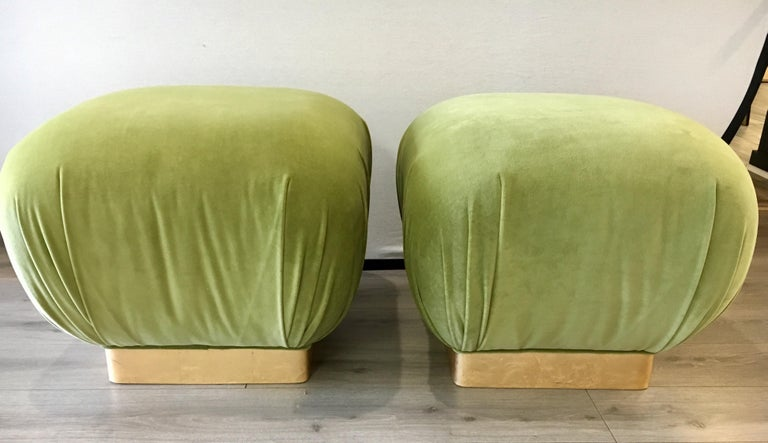 Mid-Century Modern Pair of Matching Midcentury Poufs Stools Ottomans with Brass Band Base For Sale