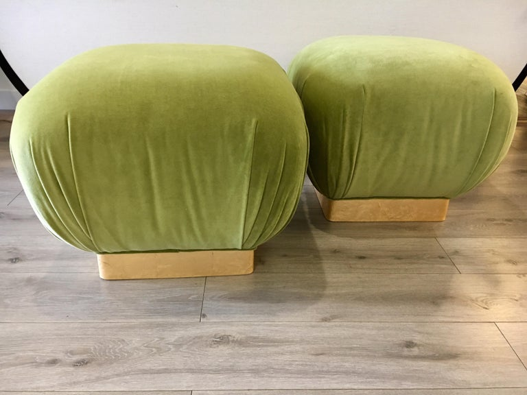 American Pair of Matching Midcentury Poufs Stools Ottomans with Brass Band Base For Sale
