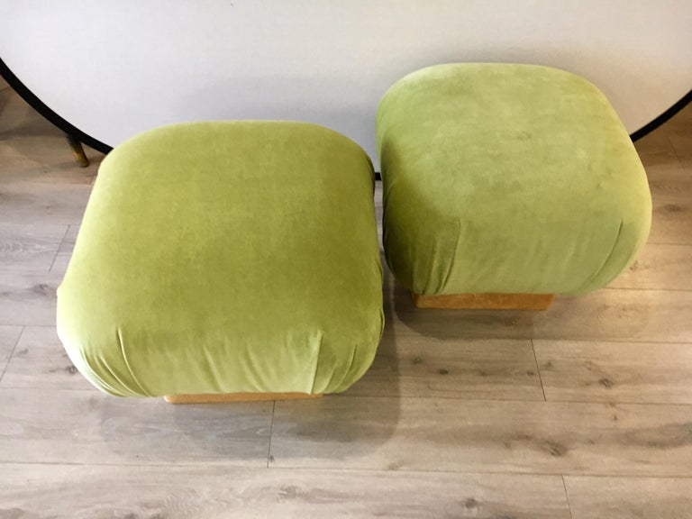 Late 20th Century Pair of Matching Midcentury Poufs Stools Ottomans with Brass Band Base For Sale
