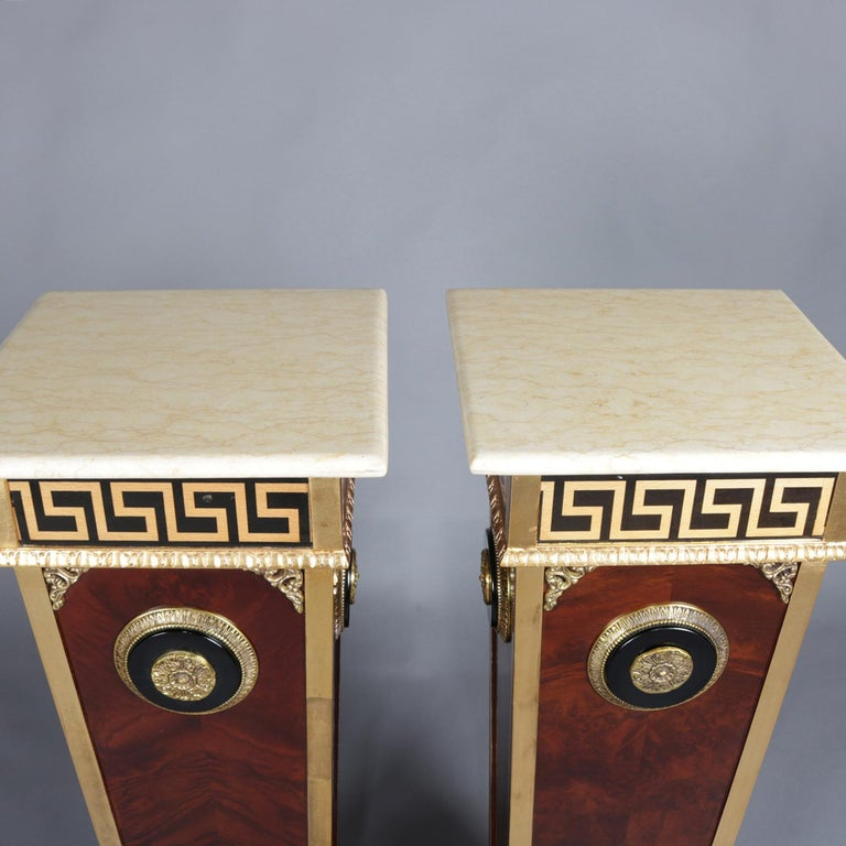 Pair of Matching Neoclassical Mahogany and Ormolu Sculpture Pedestals For Sale 6