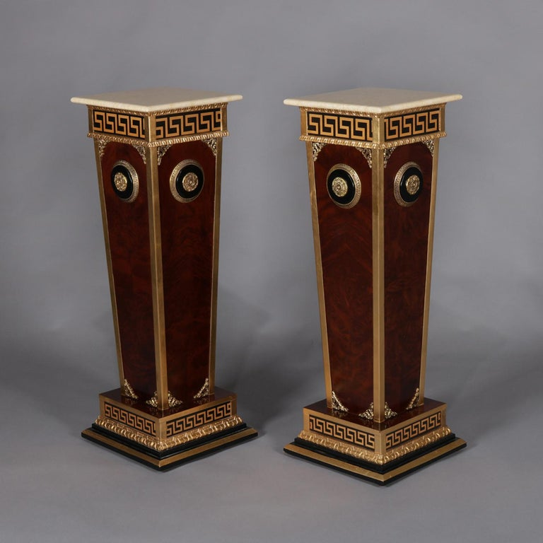 Greek Pair of Matching Neoclassical Mahogany and Ormolu Sculpture Pedestals For Sale
