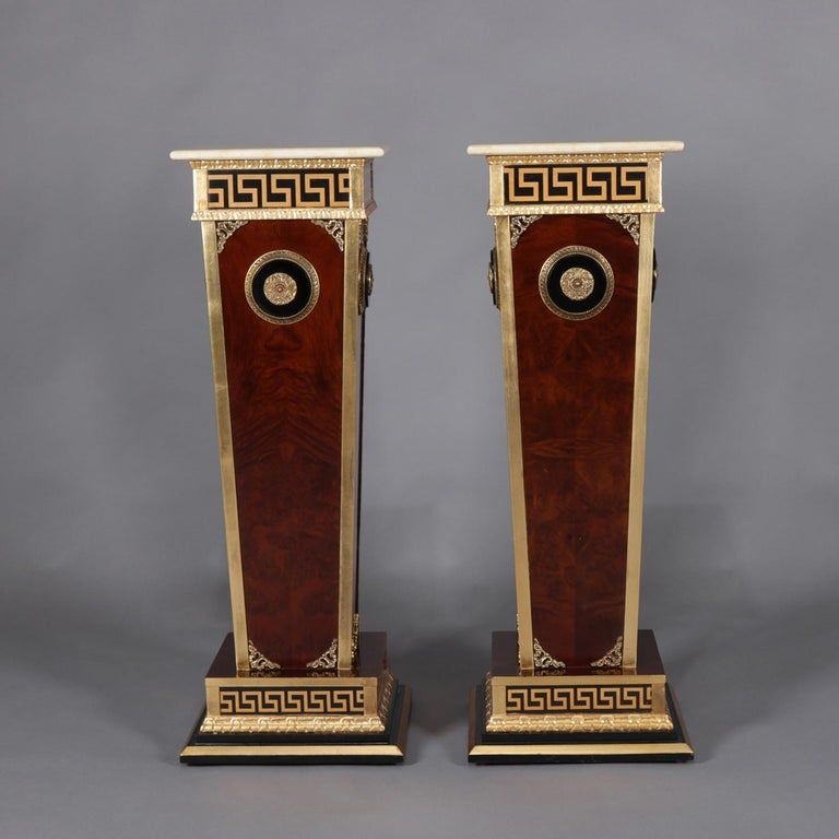 Cast Pair of Matching Neoclassical Mahogany and Ormolu Sculpture Pedestals For Sale