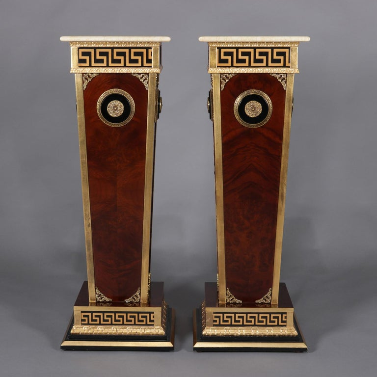 Pair of Matching Neoclassical Mahogany and Ormolu Sculpture Pedestals In Good Condition For Sale In Big Flats, NY