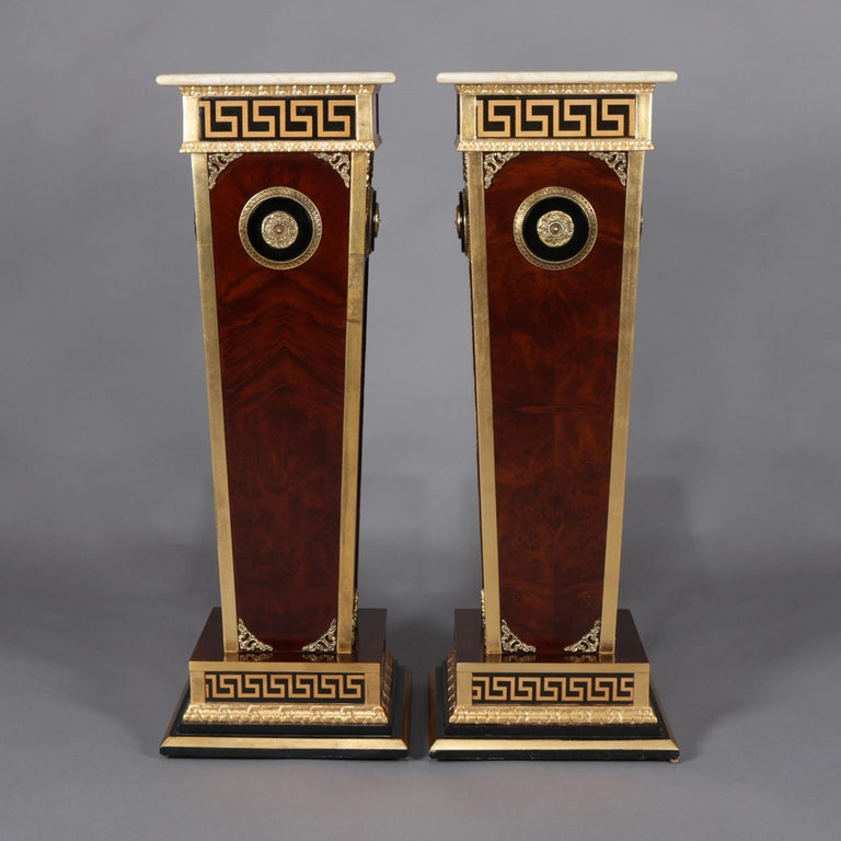 20th Century Pair of Matching Neoclassical Mahogany and Ormolu Sculpture Pedestals For Sale